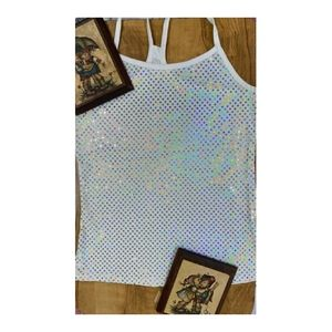 WHITE HOLOGRAPHIC  TANK TOP